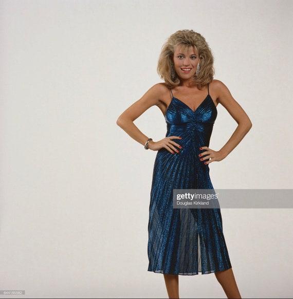 Vintage 1980s Travilla Style Teal Lillie Rubin Ev… - image 9