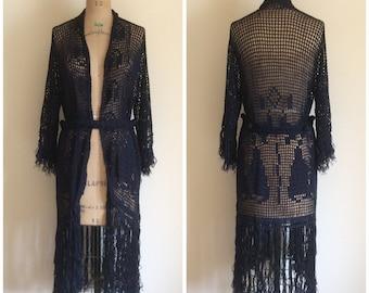 1920s Crochet Fringe Flapper Sweater Dress 20s Cardigan Coat Duster Navy Blue