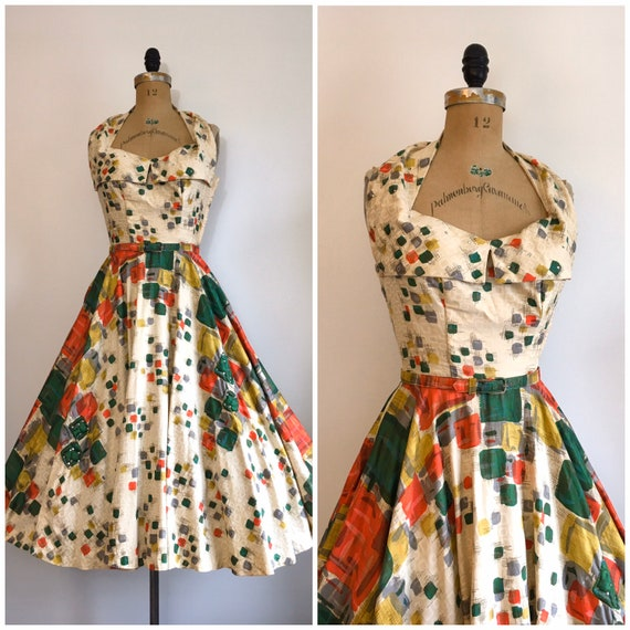 Vintage 1950s Claudia Young Novelty Print Dress 50