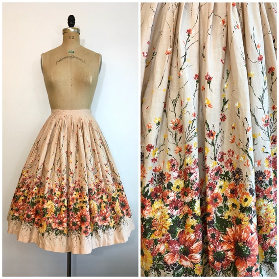 Vintage 1950s Novelty Print Skirt Floral Border Pr