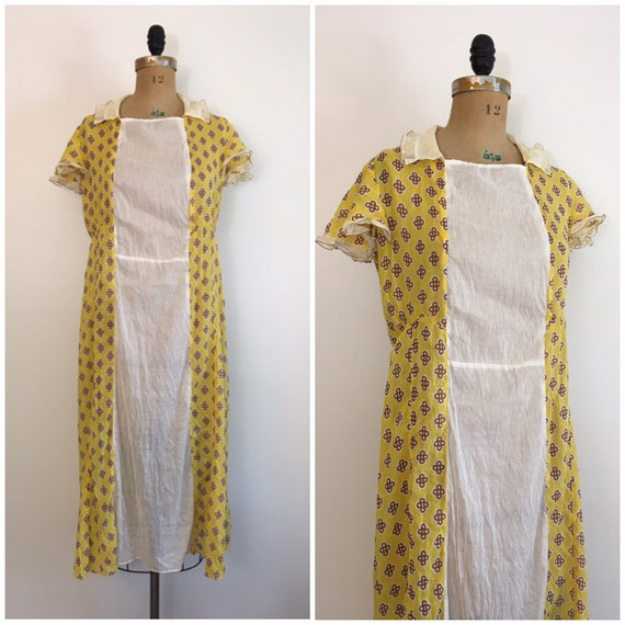 Vintage 1920s 1930s Yellow Cotton Dress Deco Print