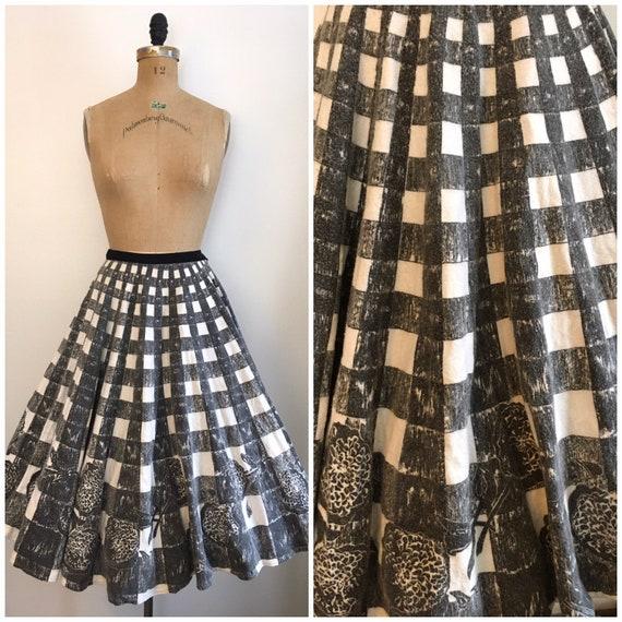 Vintage 1950s Plaid Border Print Circle Skirt 50s