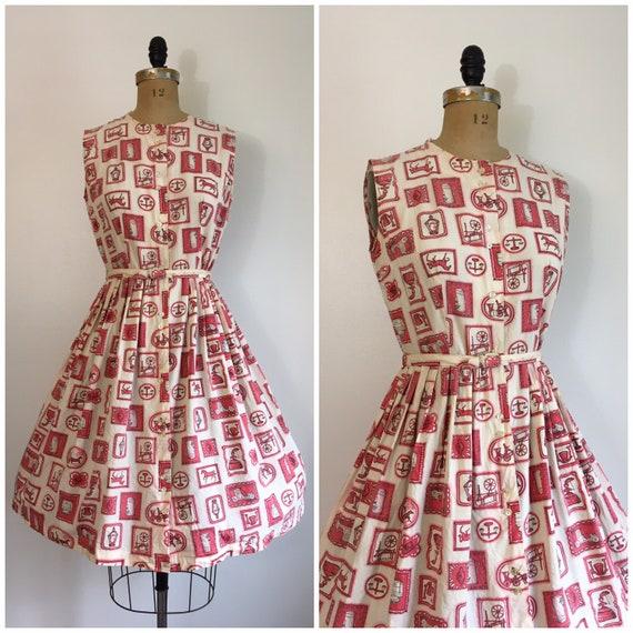 Vintage 1950's Novelty Print Dress 50's General St