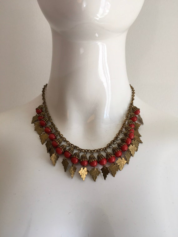Vintage 1930s Brass Leaves Necklace 30s Red Beads