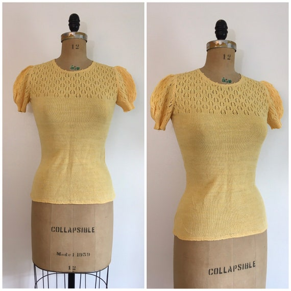 Vintage 1970s Does 1930s Yellow Puff Sleeve Sweate