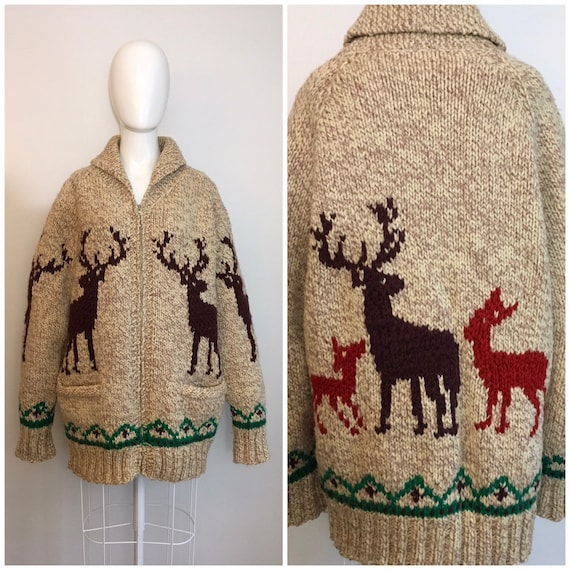 Vintage 1950s Novelty Cowichan Sweater Deer Moose