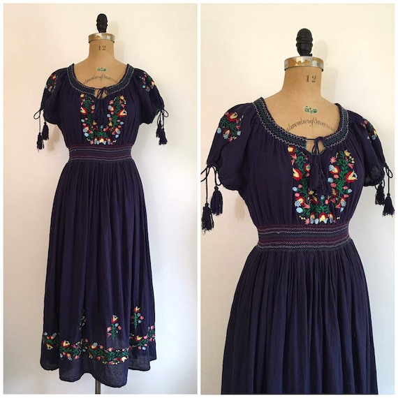 Vintage 1970s Embroidered Folk Dress 70s Smocked C