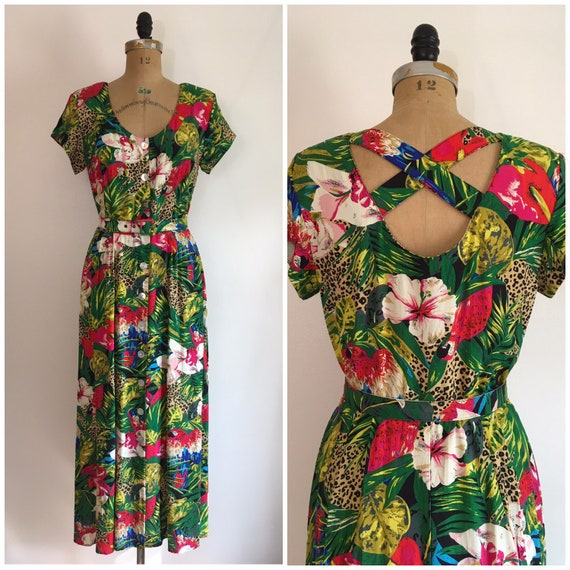Vintage 1980s Floral Garden Dress 80s Puffy Sleeve