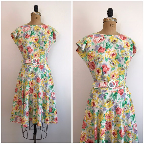 Vintage 1980s Milanzo Floral Garden Party Dress 8… - image 1