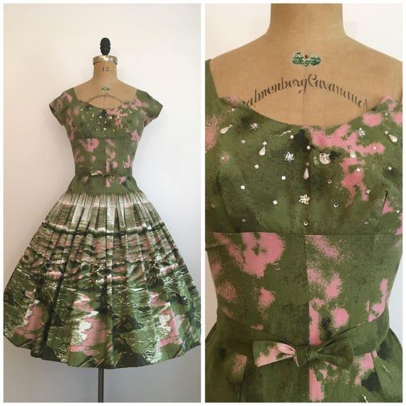 Vintage 1950s Scenic Novelty Print Dress 50s Beach