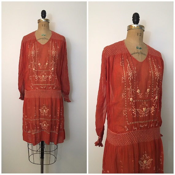 Vintage 1920s Embroidered Cotton Dress 20s Flapper