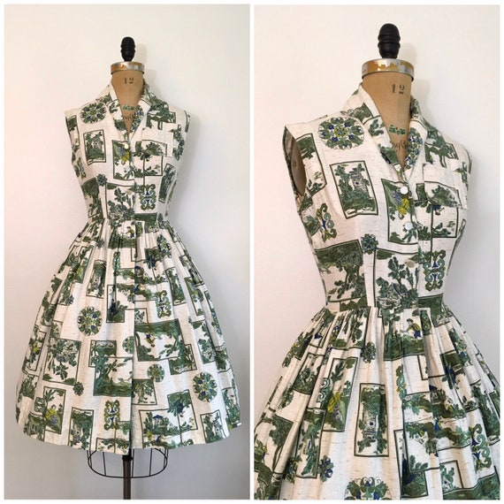 Vintage 1950s 1960s Mode O' Day Toile Dress 50s 60