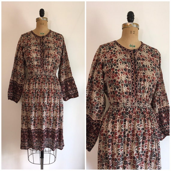 Vintage 1970s Kaiser Cotton Dress 70s Boho Gauze D