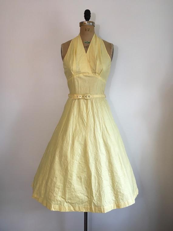 Vintage 1950s Seafoam Halter Dress 50s Sundress - image 2