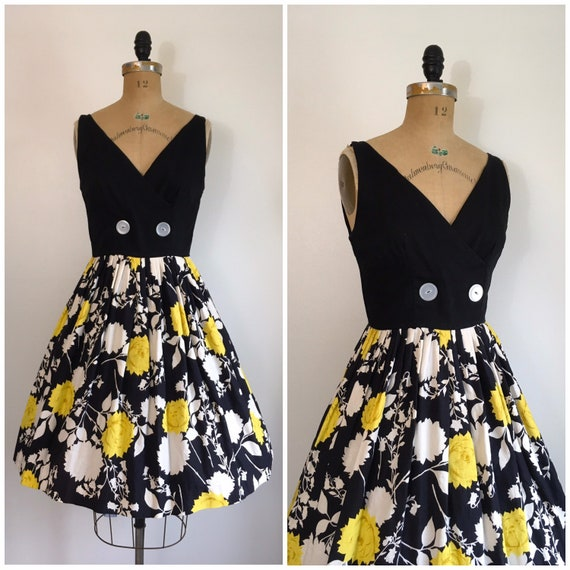 Vintage 1950s Yellow Rose Dress 50s Black And Yell