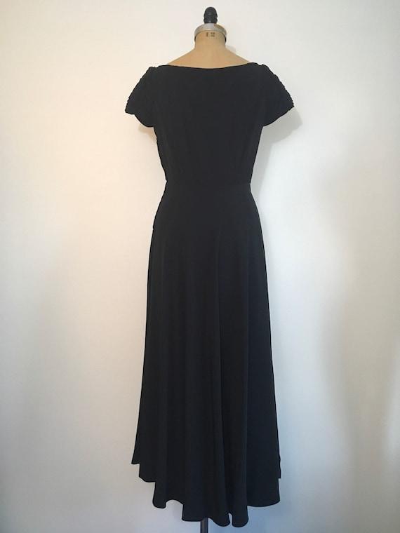 1940s Black Party Evening Dress 40s Capri Gown - image 6