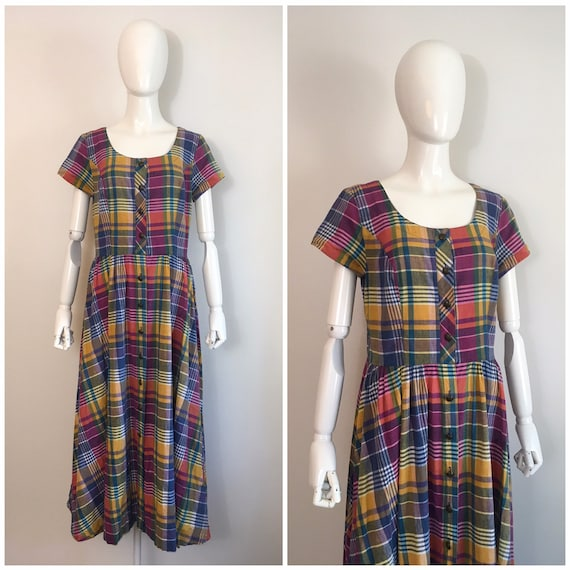 Vintage 1980s Melissa Rainbow Plaid Dress 80s