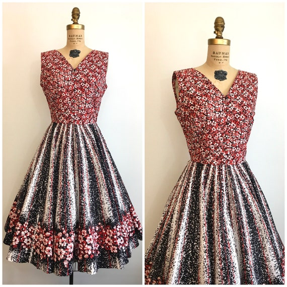 Vintage 1950's Border Print Floral Novelty Dress 5