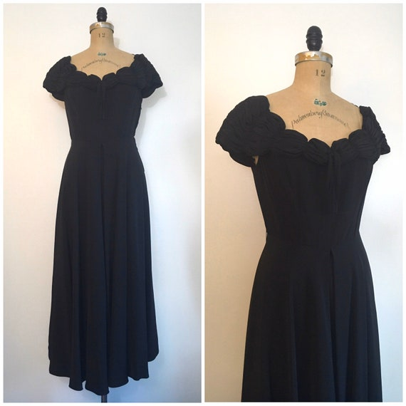 1940s Black Party Evening Dress 40s Capri Gown - image 1