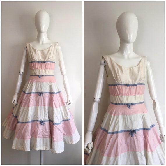 Vintage 1950s Suzy Perette Patel Bow Party Dress 5
