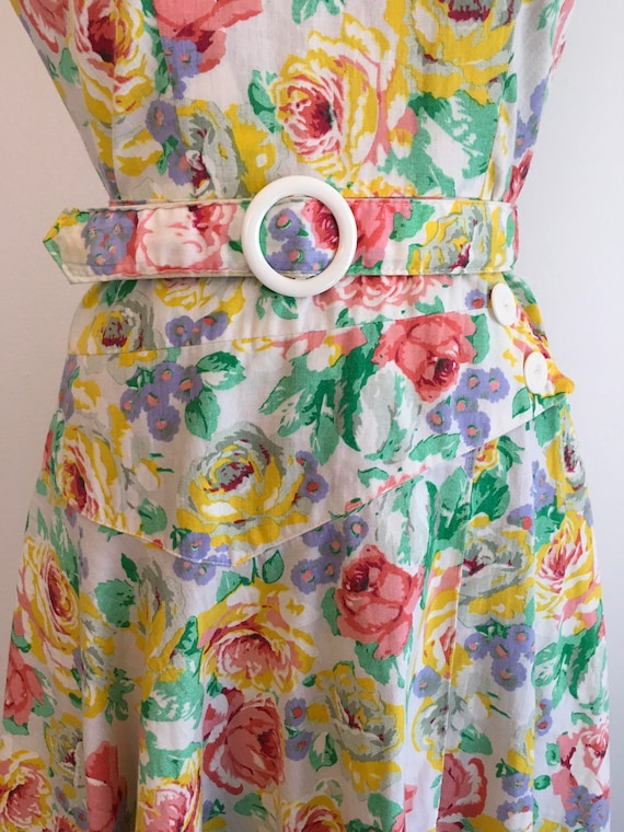 Vintage 1980s Milanzo Floral Garden Party Dress 8… - image 6