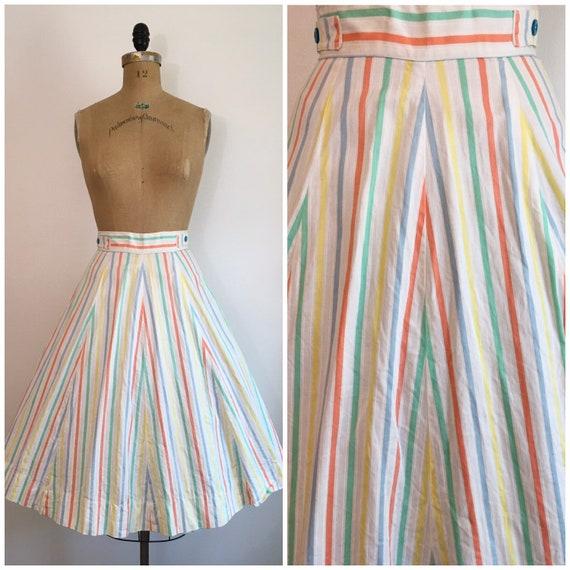 Vintage 1950s Chevron Stripe Skirt 50s A Line Past