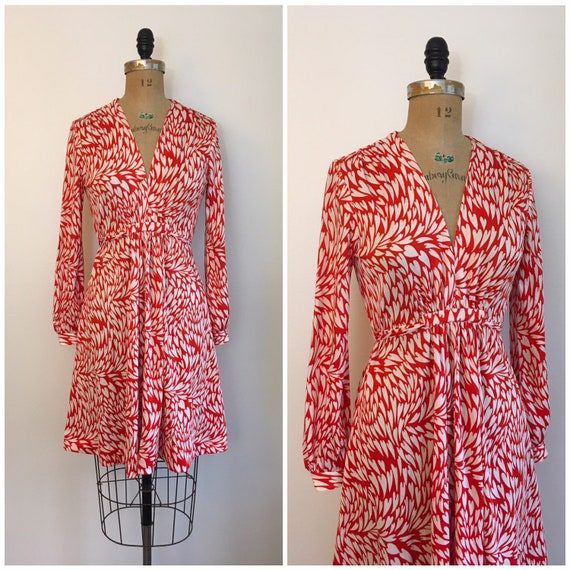 Vintage 1970s Novelty Print Heart Dress 70s Red An