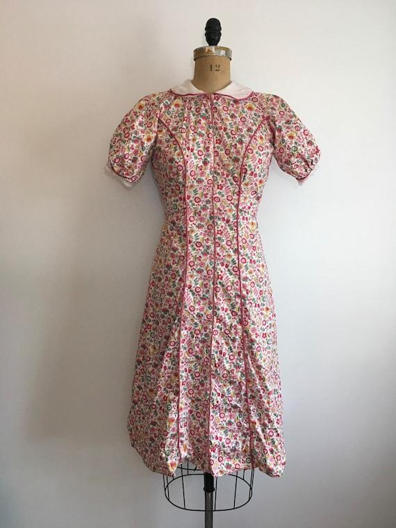 1930s Cotton Pink Floral Dress 30s Floral House D… - image 2