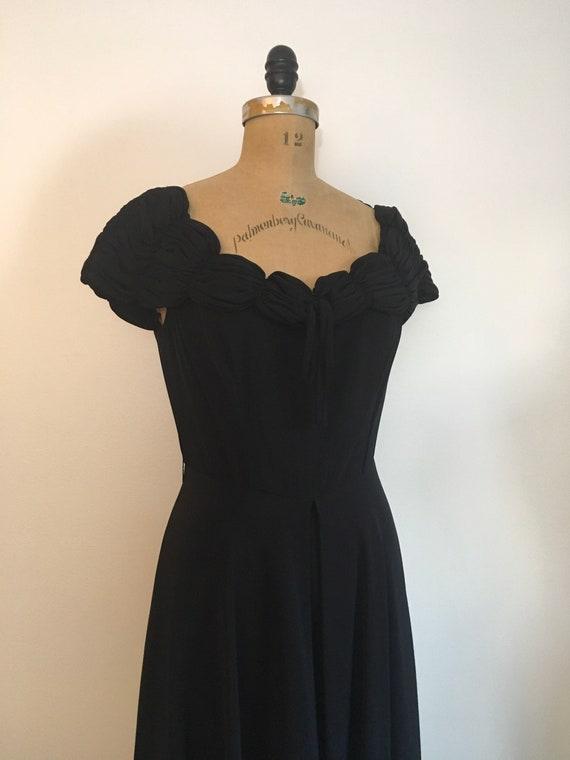 1940s Black Party Evening Dress 40s Capri Gown - image 4