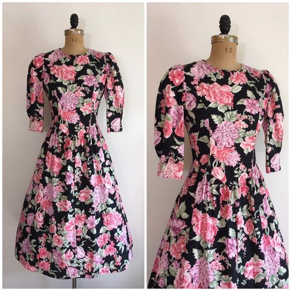 Vintage 1980s Lanz Floral Garden Party Dress 80s P