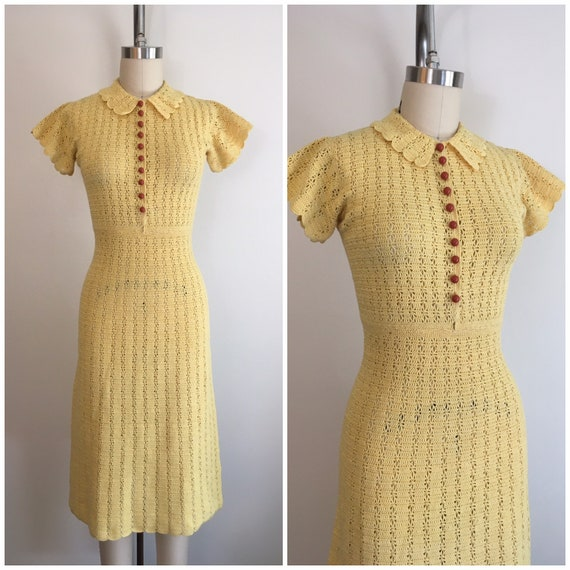 Vintage 1930s  Crochet Yellow Dress 30s Flutter Sl