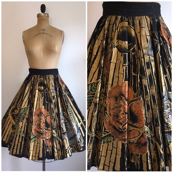 1950s Painted Mexican Skirt 50s Circle Skirt Roses