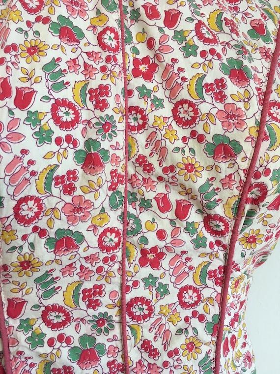 1930s Cotton Pink Floral Dress 30s Floral House D… - image 6
