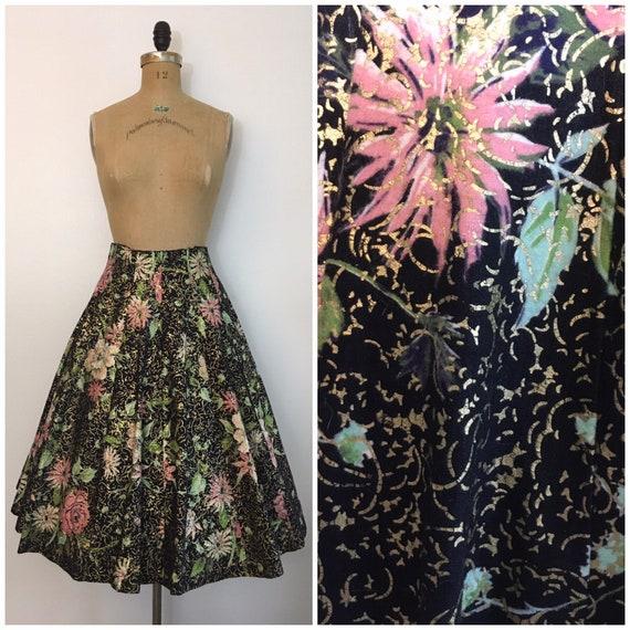 Vintage 1950s Novelty Print Panel Skirt 50s Gold C