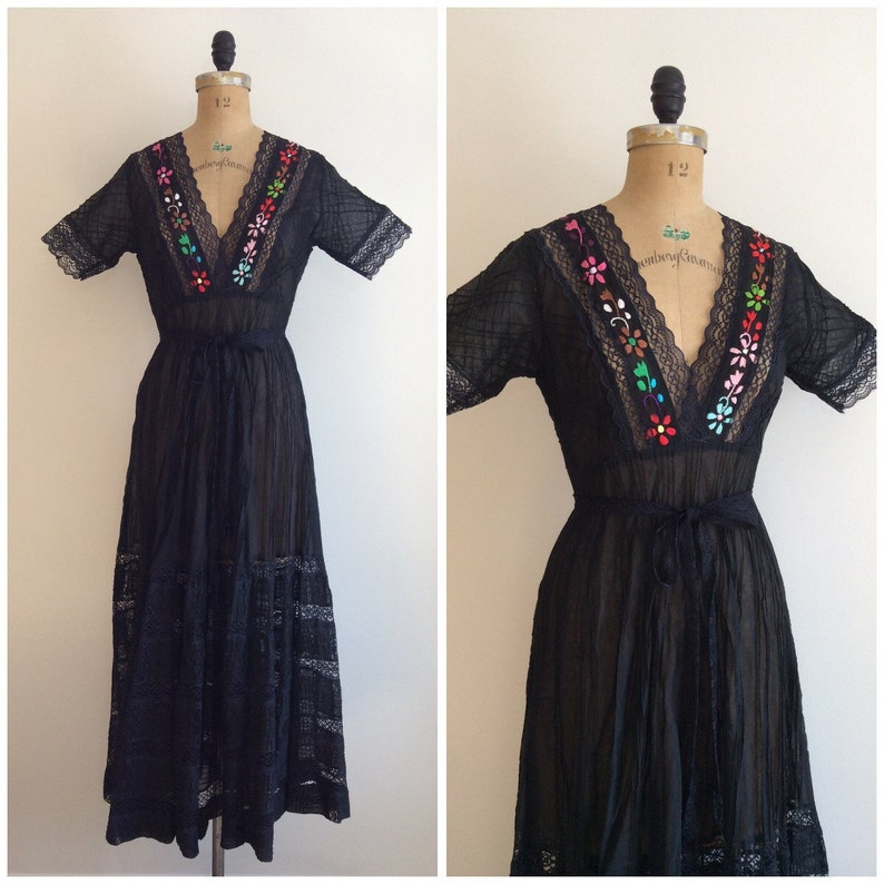 8b4102cd74 1950s Mexican Maxi Dress 50s Embroidered Lace Dress | Etsy