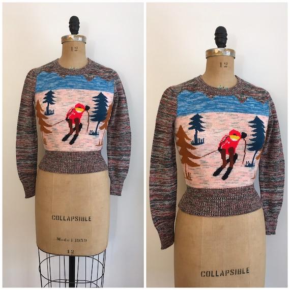 Vintage 1970s Arpeja Downhill Ski Sweater 70s Nove