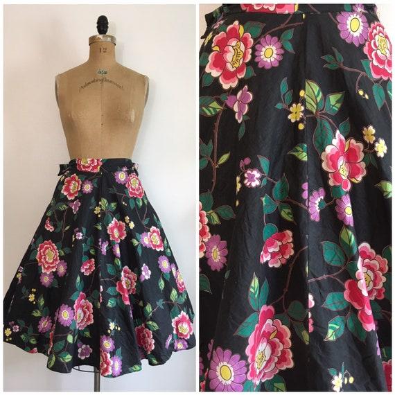 Vintage 1950s Joan Lord Floral Chintz Skirt 50s