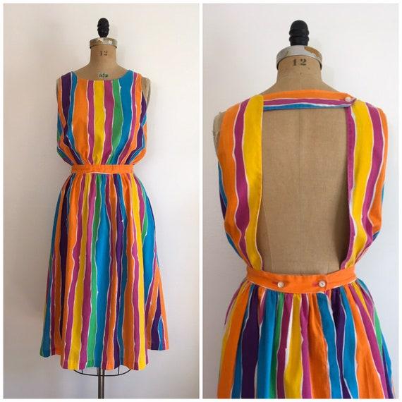 Vintage 1980s Gabar Rainbow Sundress 80s