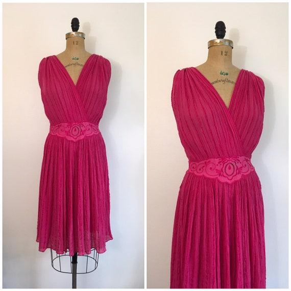 Vintage 1980s 1990s Greek Gauze Cotton Dress 80s 9