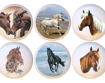 Set Of 10 Horses Horse Equestrian Equine Ceramic Drawer Pull Cabinet Knobs