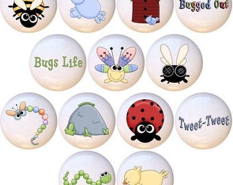 Set Of 13 Birdies N Bugs Life Country Insect Bug Ceramic Drawer Pull Cabinet Knobs