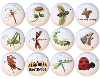 Set Of 12 Buggin You Too Country Insects Bugs Ceramic Drawer Pull Cabinet Knobs