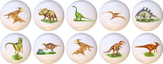 Set of 10 Realistic Dinosaurs CERAMIC Drawer Pulls Dresser Drawer Cabinet Knobs