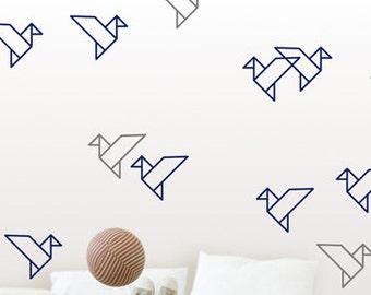 Origami Bird Wall Decals Geometric Home Decor Stickers, Australian Made