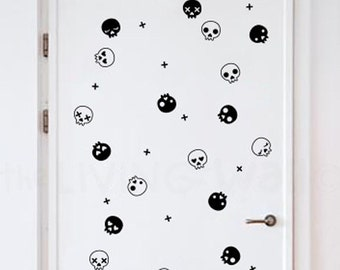 Happy Halloween Wall Decals, Party Halloween Pattern With Skulls and Cross Stickers Removable