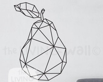 Geometric Pear Wall Decals Home Decor Removable Vinyl Wall Stickers, Geometric Fruit Wall Art Bedroom, Australian Made