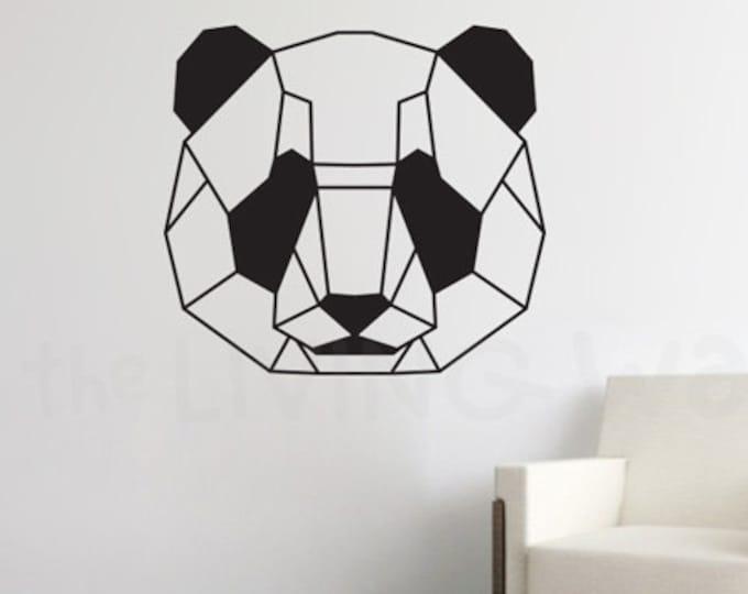 Featured listing image: Geometric Head Panda Wall Decal Sticker Home Decor, Head Panda Monochrome Vinyl Wall Stickers, Australian Made