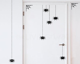 Happy Halloween Wall Decal, Party Halloween With Spiders And Spider Web Black or White Removable Sticker