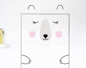 Bear Door Decal, Nursery Door Decals, Woodland Stickers Wall Art, Animals Kids Room Wall Sticker Decoration Australian made
