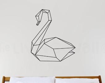 Geometric Swan Wall Decal, Geometric Animal Wall Art Swan Home Decor Vinyl Wall Stickers, Australian Made